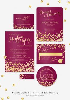 Wine berry and gold twinkle lights wedding invitation set.Gold dots light effect design and elegant burgundy wine or cranberry color wedding.