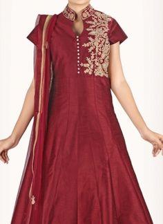 Astounding Art Silk Kasab work Anarkali Suit