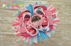 Cupcake or Birthday Stacked Bow  Bow by spoiledbratdesignz on Etsy, $9.50
