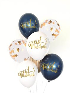 Perfect addition to all your Eid parties and decorations. 8 pc of latex quality balloons 2 metallic navy happy Eid 2 Gold 2 gold stars 2 white happy Eid balloons Eid Mubarak Card, Eid Mubarak Greetings, Happy Eid Mubarak, Iftar Party, Eid Party, Eid Balloons, Latex Balloons, Eid Hampers, Islamic Celebrations
