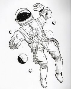 New ideas for space illustration art galaxies Galaxy Drawings, Sharpie Drawings, Space Drawings, Outline Drawings, Art Drawings Sketches, Tumblr Drawings, Drawing Art, Astronaut Tattoo, Astronaut Drawing