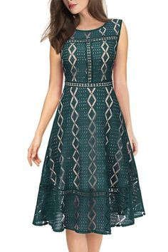 EBUYTIDE Womens 3/4 Sleeves Lace Patchwork Illusion Hem Cocktail Casual Party Fit and Flare Skater A-Line Midi Mid-Calf Dress #eveningdressescocktail #bridesmaid #lacedress #skaterdresses Skater Style Dress, Skater Dresses, Casual Party, Fit And Flare, Illusion, Lace Dress, Rompers, Bridesmaid, Scrappy Quilts