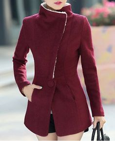 Stylish Stand Collar Long Sleeves Solid Color Zippered Woolen Coat For Women