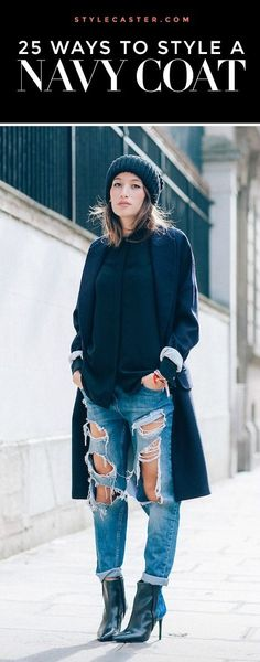 Welcome to Moncler shop!Beautifully Moncler Coats (Belstaff Men and Women Jacket,Canada Goose Jacket),the world lowest price. Navy Coat, Navy Blue Sweater, Ripped Boyfriend Jeans, Ripped Jeans, Moncler, Fall Winter Outfits, Autumn Winter Fashion, Winter Style, Fall Fashion