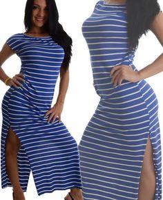 766c5c316bfbf Vestito lungo righe bianco e blu – Modelli alla moda di abiti 2018