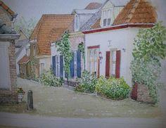 Windmolensteeg in Doesburg bij ons kado Herman van Ophuizen Pannerden http://www.bijonskado.com art city stad Nederland schilderij