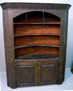 EARLY ONE-PIECE BARREL BACK CUPBOARD---Love this! I have never seen one of these!                     ****