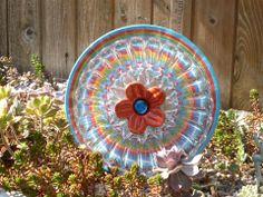 Plate Flower. #348  Drought Resistant.        Garden Yard Art glass and ceramic plate flower