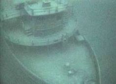 Still image from video taken by Michigan State Police Underwater Recovery Unit of the sunken Great Lakes steamer John V. Moran.