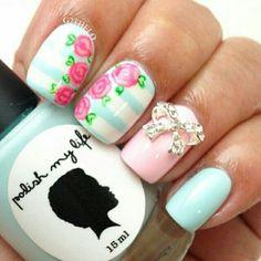 Summer nails pink  blue floral
