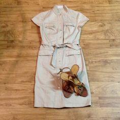 Calvin Klein Dress Khaki military style dress with silver buttons Calvin Klein Dresses