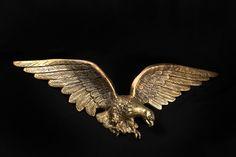 "Large VTG American Eagle Brass Wall Plaque Patriotic Sculpture Home Décor 29"""