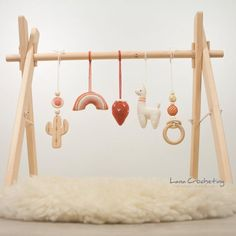 Llama, Cactus, Rainbow, Saguaro, Ring – Infant activity center – Wooden baby gym with toys – Boho Montessori - baby