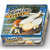 Island Way Sorbet in a real fruit shell in Apple, Coconut, Pineapple, Piña-Colada, Passion, Lemon and Orange