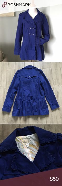 """Anthro Elevenses Pea Coat Wrap yourself in this cobalt blue, romantic coat by Elevenses. Fully lined. Missing optional belt. I always preferred it without. Any sash/belt will do, if desired (e.g. Last photo). Cotton. 29"""" L. Gently loved. Anthropologie Jackets & Coats"""