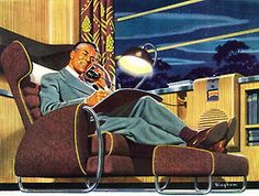 All the comforts of roam! Detail from 1944 American Railroads ad, art by James R. Bingham.