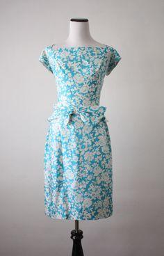 vintage 1950's silk rose dress