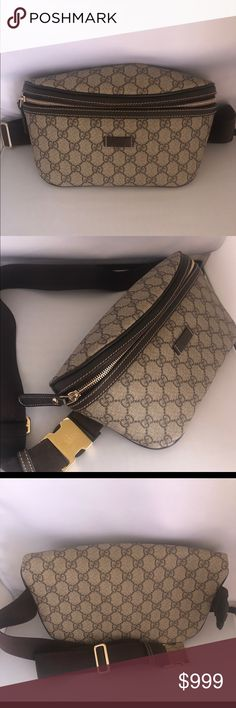 5a8f7724ca71 Gucci Webby Monogram Brown Canvas Waist Bag About Classic Gucci belt bag in  excellent condition.