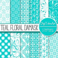 """Floral and damask digital paper in teal and white - """"Teal Floral Damask"""".  Perfect for scrapbooking, wedding, making cards, invitations, collages, crafts, web graphics, and so much more. Digital paper pack by DigiTalesArt."""