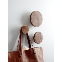 Shop set of 3 dot coat hooks. Reclaimed from old homes under renovation in northern India, sen wood comes full circle in eco installation. Aged up to 50 years, wood is sanded smooth to enhance varying tone, grain, knots and splits that make each unique.