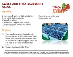 Sweet and Spicy Blueberry Salsa - YMCA Farmers Market - July 2013