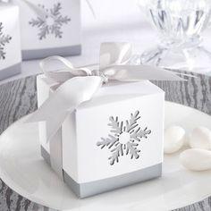 boite dragée hiver avec flocon de neige