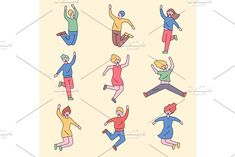 People are jumping with excitement by Sofimix on Flat Design, Clip Art, Animation, Concept, Poses, Cartoon, Joyful, Outline, Creative