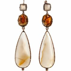 Olivia Collings Antique Jewelry Brown Agate Long Drop Earrings at Barneys.com