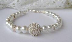 White pearl and rhinestone bracelet / bridal by RhinestoneAndPearl, $20.00