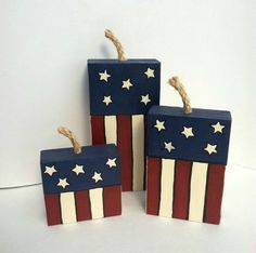 Fourth of July, Patriotic, Wood, Firecrackers, Fireworks Set of three in each set, sanded edges for rustic look Painted like the American… #WoodworkCrafts
