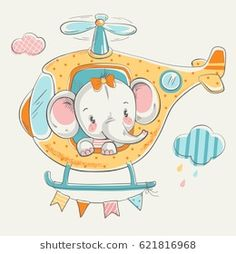 Cute little elephant on a helicopter cartoon hand drawn vector illustration. Can be used for baby t-shirt print, fashion print design, kids wear, baby shower celebration greeting and invitation card. Cute Elephant, Little Elephant, Elephant Design, Cartoon Elephant, Girl Cartoon, Cute Cartoon, Animals Vector, Illustrator, Baby Shower Invitation Cards