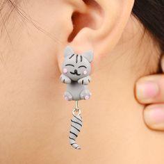 Handmade Polymer Clay Grey Anime Cat Stud Earrings For Women Fashion Animal brincos Piercing Earrings Jewelry