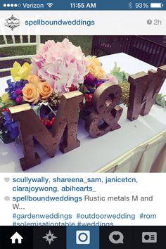 Monogram bride & groom reception table