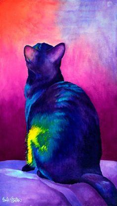 Nefertiti - watercolor by ©Sinclair Stratton http://sinclairstratton.com/cat-paintings/nefertiti-22-x-14-watercolor-3