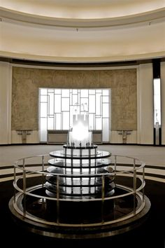 The Carlu Round Room Lalique Fountain Art Nouveau, Art Deco, Cove Lighting Ceiling, Ceiling Lights, Mural Painting, Frosted Glass, Water Features, Light Fixtures, Fountain