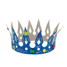 DIY Crowns - OrientalTrading.com$3.25 dozen. Would have to spray paint gold first and then buy jewels to decorate