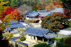 도산서원 전경  陶山書院                Dosan Seowon Academy (built 1561 onward), is the largest and most famous of all Confucian academies in Korea. The first buildings on the site were established in 1561 by Yi Hwang, one of the great Korean Neo Confucian scholars.