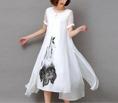 Fashion2017 Новая Коллекция Весна Лето Белый Черный Чернила Печати Женщины Длинные Dress Ретро Коротким Рукавом Хлопок Белье Конструкций Повседневные Платья Тонкий(China (Mainland))