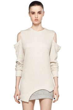 3.1 PHILLIP LIM  Sweatshirt w/ Cut Off Sleeves in Oatmeal/Soft Grey