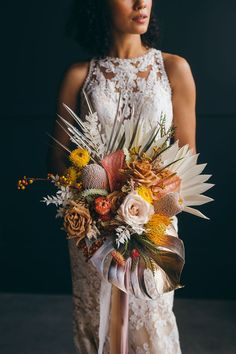 We are wholeheartedly dazzled by this tropical bohemian elopement inspiration with a circular backdrop adorned in dyed monstera leaves, sun palms, orchids, anthuriums and more! From the rooftop First Look to the post I Do flowerfetti moment, you can count on this darling Chicago wedding inspiration to put a smile on your face... and give you plenty to bookmark too! See it all on Ruffled Blog now #samesexwedding #bohoweddingideas #twobrides Bride Bouquets, Bridesmaid Bouquet, Pink Bouquet, Flower Bouquets, Bali Wedding, Wedding Ceremony, Wedding Trends, Wedding Designs, Wedding Ideas