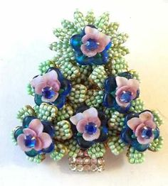 STANLEY HAGGLER Vintage Brooch IAN St GIELAR Green Pink & Blue Christmas Tree