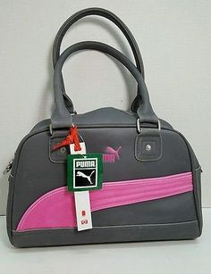 dc29daeefd90 Puma Foundation gray pink vegan satchel bowling bag handbag purse NWT