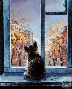 Александр Гунин Chat à la fenêtre d'automne
