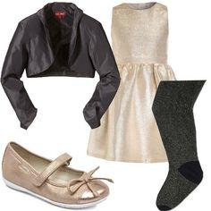 Outfit per le piccole principesse per i giorni speciali composto da abito avvitato senza maniche abbinato a giacca corta, aperta. Collant e ballerine con fiocco e strappo.