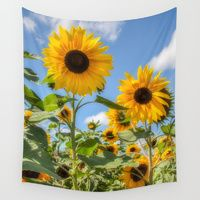 Wall Tapestries featuring Sunflowers by David Tinsley