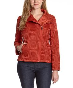 Burnt Orange Wave Asymmetrical Zip-Up Jacket - Women by Great Cavalier #zulily #zulilyfinds