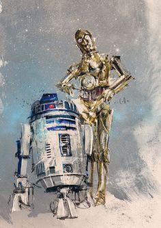 Disney Star Wars illustrations - Droids Star Wars - Ideas of Droids Star Wars - Disney Star Wars illustrations on Behance Star Wars Fan Art, Star Wars Droides, Star Wars Gifts, Disney Star Wars, Cuadros Star Wars, Star Wars Painting, Arte Robot, Star Wars Wallpaper, Star Wars Poster