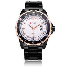 Men Watch - Curren 8108 Black Stainless Steel Number Men Quartz Wrist Watch