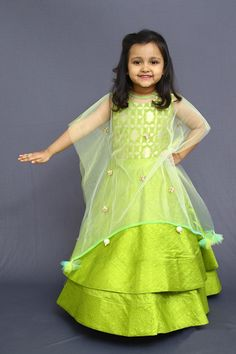 Buy Green brocade double layered one piece with cape kid online Frock Patterns, Baby Girl Dress Patterns, Baby Dress Design, Frock Design, Kids Dress Wear, Kids Gown, Party Wear Dresses, Little Girl Dresses, Kids Wear