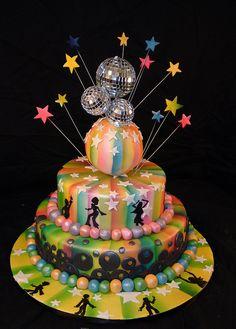 my 50 birthday cake ( i hope! Disco Party, Disco Cake, 70s Party, Disco Theme, 80s Birthday Parties, Dance Party Birthday, 40th Birthday Cakes, 50 Birthday, Creative Cakes